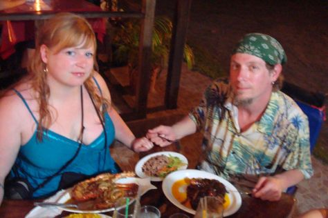 dinner at Miss Ediths, Cahuita, Costa Rica