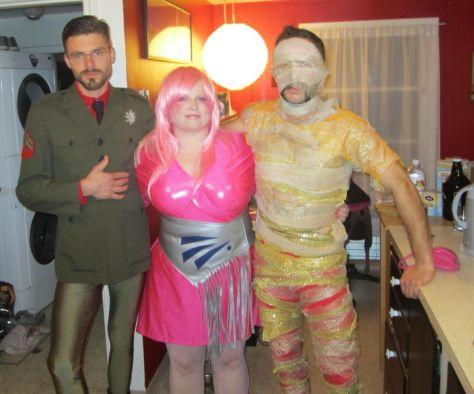 Homemade Halloween costume Jem and a glitter mummy