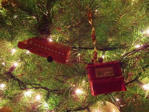 School bus ornament and piano ornament
