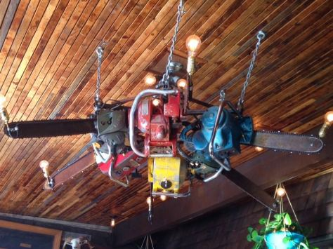 Drunkys Two Shoe BBQ chainsaw chandalier