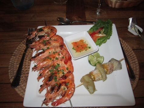Grilled shrimp at Hotel La Pirogue