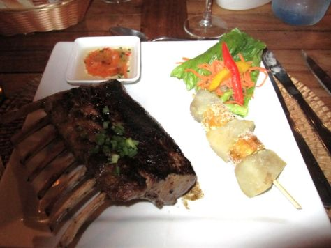 Rack of lamb at Hotel La Pirogue