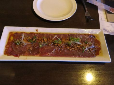 Beef carpaccio at District One Restaurant, Las Vegas