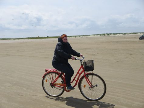 Riding a bike on the Fanø Strand