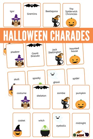 Printable Halloween charades game cards