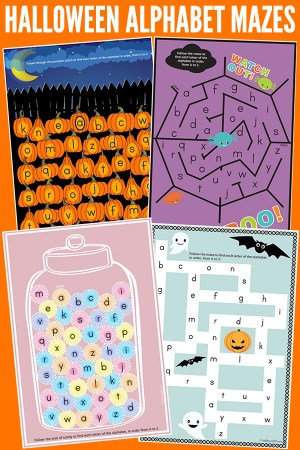 Halloween alphabet mazes