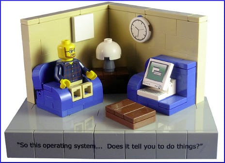 """[plastic toy man speaking to computer: """"So this operating system... Does it tell you to do things?""""]]"""