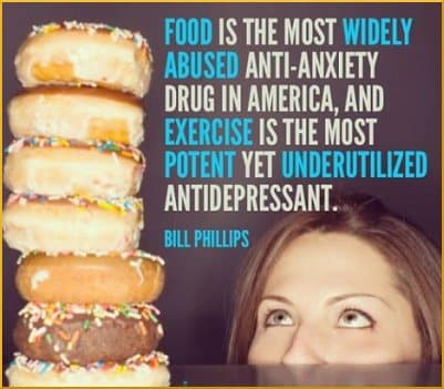 [Woman looks at tall stack of donuts. Accompanying quote: 'Food is the most widely abused anti-anxiety drug in America, and exercise is the most potent yet underutilized antidepressant. ' --Bill Philips]