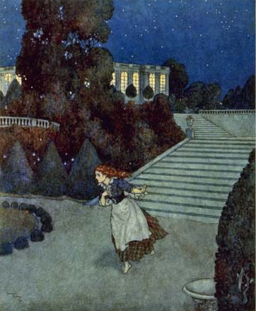Cinderella looses her glass slipper, by Edmund Dulac