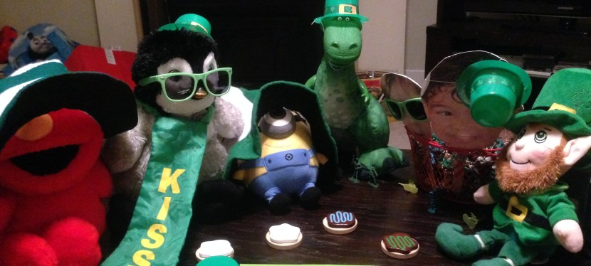 Overload on green, batman pjs and cooking for two, This is what St. Paddy's Day looks like for me.