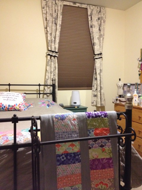 Curtains up and looking classy in my room - and look my spare quilt can retire to the quilt stand not the headboard!