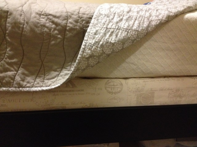 """Reupholstered"" Box Spring - subtle but far classier than the ugly box spring fabric!"