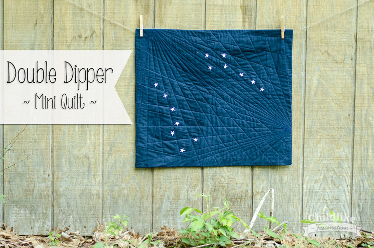 "Double Dipper - Star Mini Quilt by Terri Ann from Childlike Fascination with tiny 1in stars! 25"" x 22"""