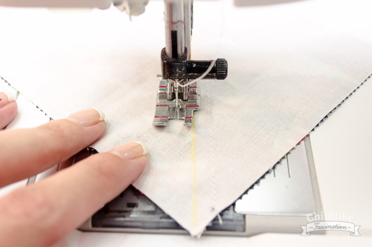 "Sew a 1/4"" to both sides of the drawn line (not on the line)"