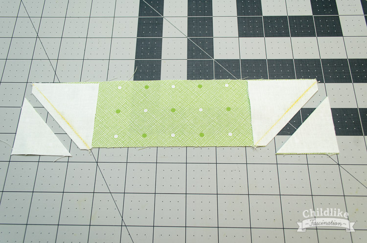 "Sew along the marked line and trim corners off 1/4"" away from seam"