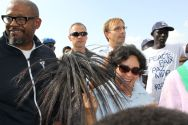 Leila Zerrougui and Forest Whitaker arrive at the Protection of Civilians site in Juba. ©OSRSG-CAAC