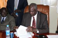 South Sudan Minister of Defence and Veterans Affairs Kuol Manyang Juuk signed the recommitment agreement to the action plan. ©OSRSG-CAAC