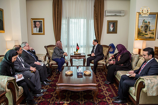 In Kabul, the Special Representative met with high-level officials of the Afghan Government, including the Minister of Foreign Affairs, Salahuddin Rabbani. ©UNAMA