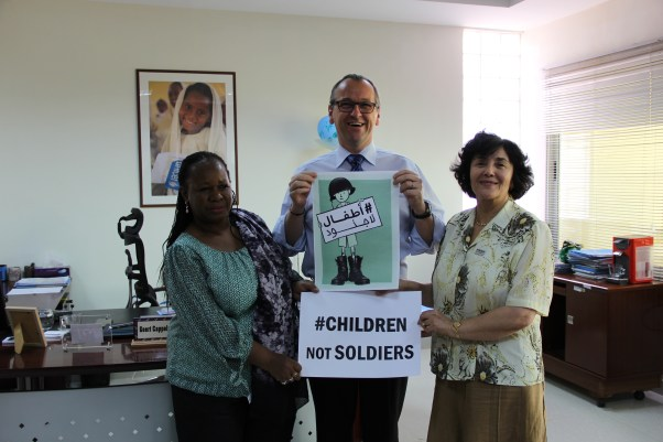 They are #ChildrenNotSoldiers. UNICEF Representative Geert Cappelaere, UNAMID Deputy Joint Special Representative, Bintou Keita and SRSG for Children and Armed Conflict, Leila Zerrougui. ©UN