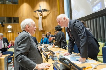 Peter Thomson, President of the General Assembly speaks with Anthony Lake, Executive Director of UNICEF. Photo: UN Photo/ Rick Bajornas
