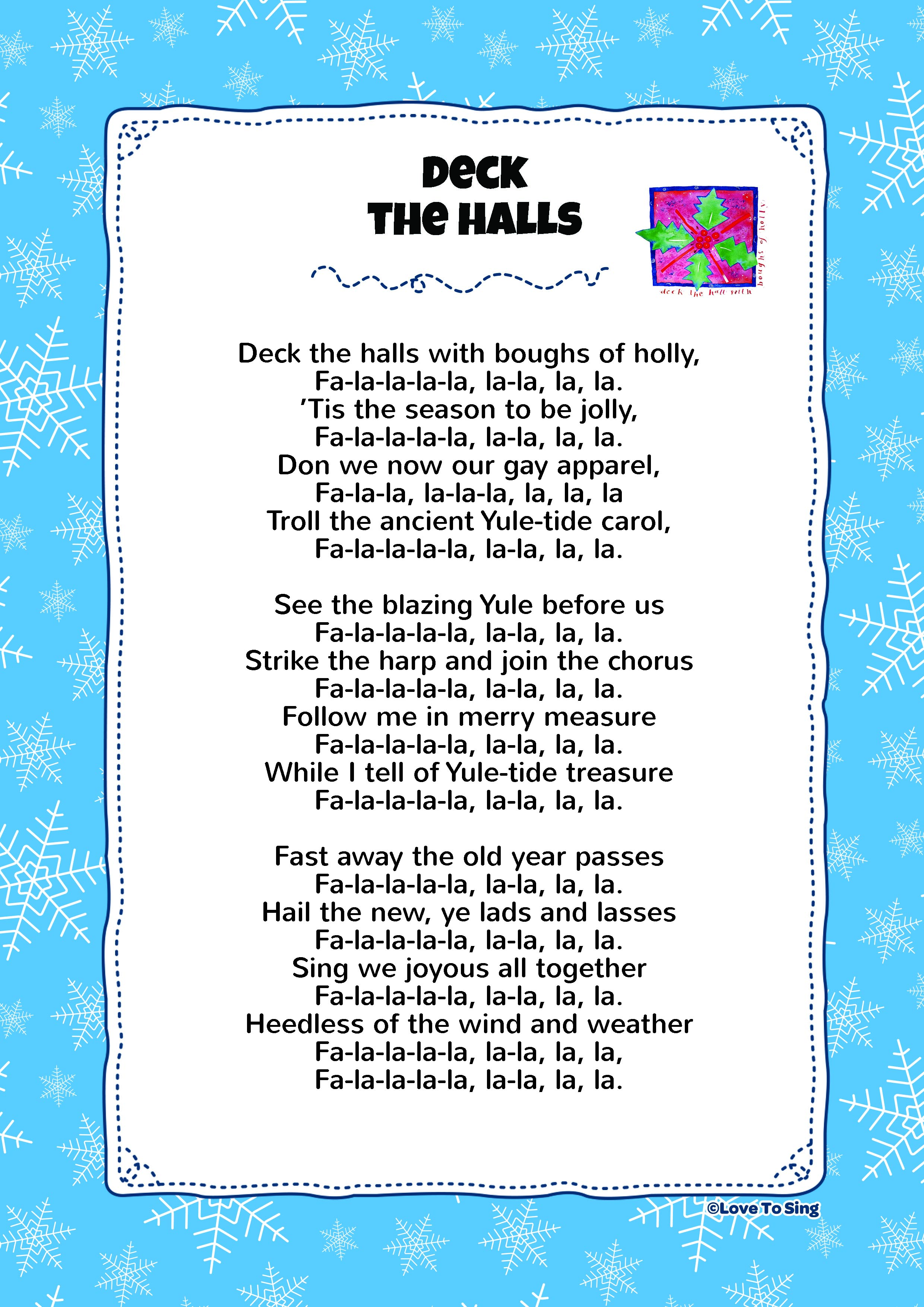 Deck The Hall Kids Video Song With FREE Lyrics Amp Activities