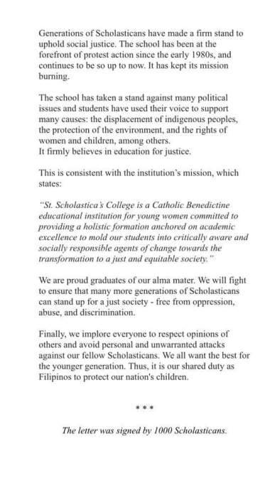 Statement from the Alumnae of St. Scholastica's College, Manila