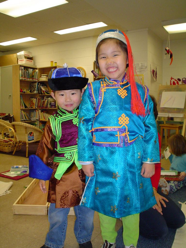 Children wearing Mongolian attire Montessori school reston