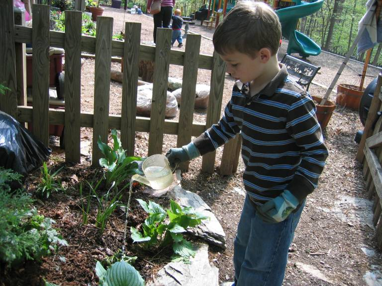 child watering plants in a natural play space