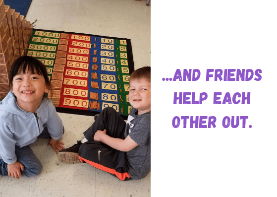 Children working together at Children's House Montessori School of Reston