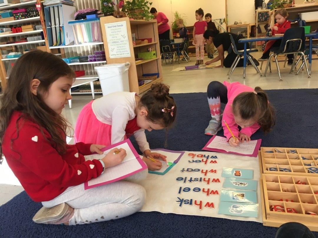Children using phonogram alphabet