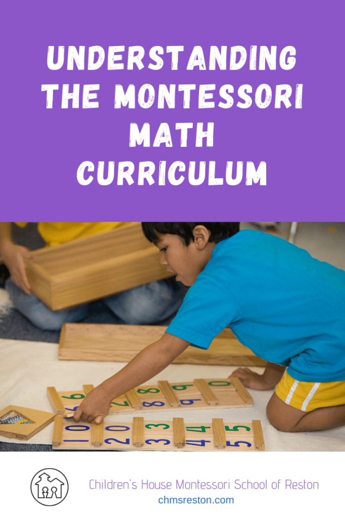 "pin image for ""understanding the Montessori math curriculum"" child using the tens board"