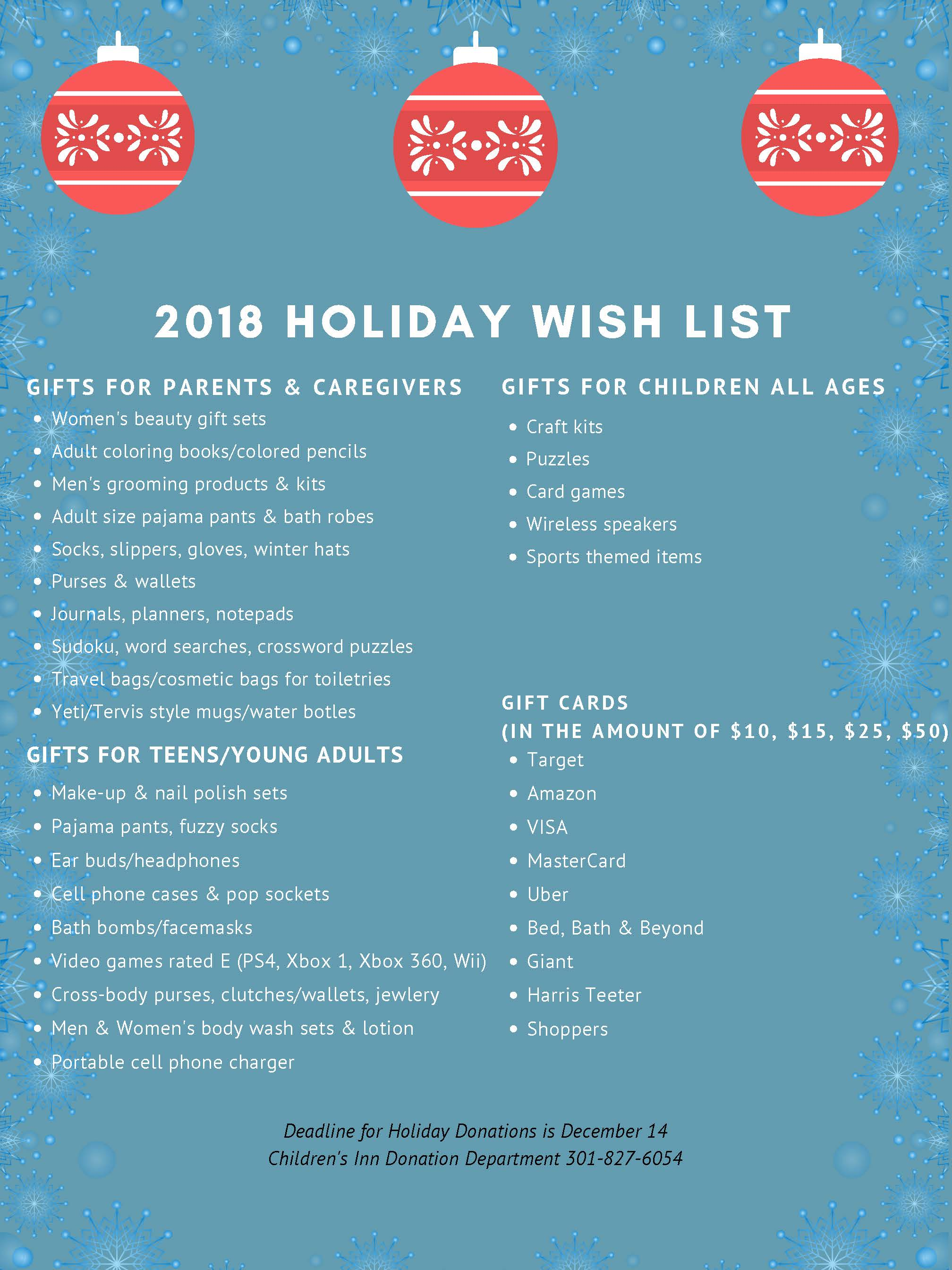 Holiday Wish List The Childrens Inn At NIH