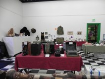 Vintage typewriters, taxidermy, and military equipment.
