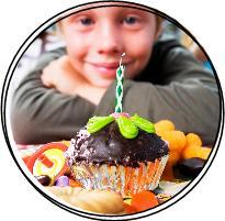 birthday boy and cupcake