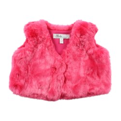 Bebe Isabel fur vest pop pink