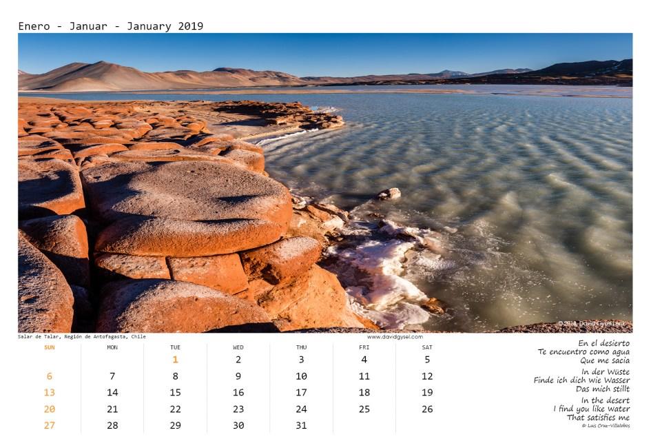 2019 Wall Calendar, Chile DesConocido