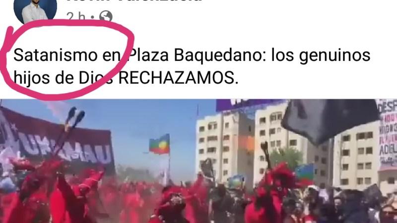 Vocero evangélico del rechazo tilda de SATANISMO baile nortino en plaza Italia
