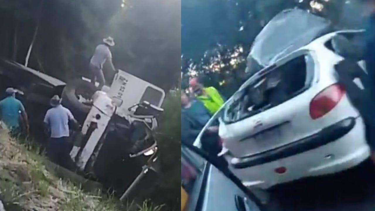 Colision FRONTAL entre camión y vehículo menor deja DOS FALLECIDOS en la ruta de la Madera