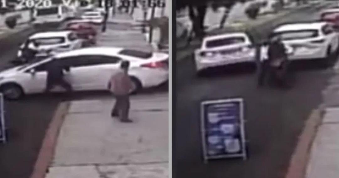 «VIDEO» Conductor que logró HUIR de robo VUELVE para ATROPELLAR a delincuentes