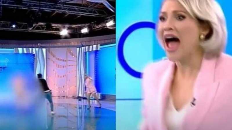Mujer DESNUDA ataca EN VIVO a una presentadora de TV con un LADRILLO