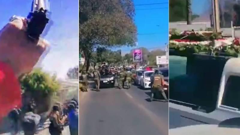 (VIDEO) Disparos al aire y maniobras de alto riesgo: graban detenciones en pleno funeral de cantante urbano