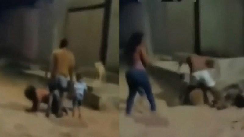 (VIDEO) Hombre golpeaba a su pareja frente a su pequeño hijo y vecino fue al rescate