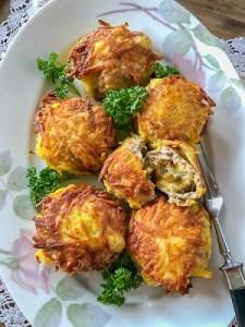Hack-Schnitzel mit Pilz-Käse-Füllung