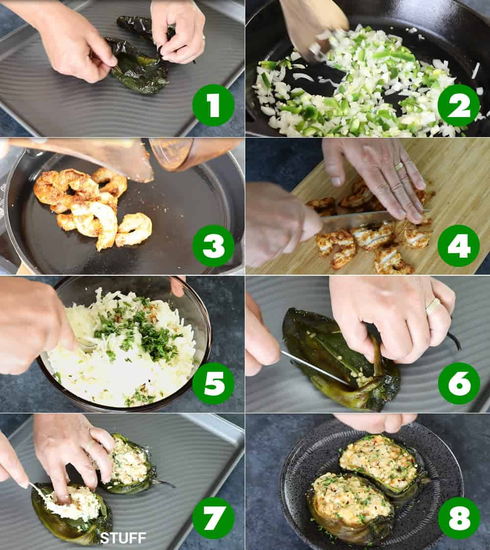 How to Make Cajun Shrimp Stuffed Poblano Peppers - The Recipe Method