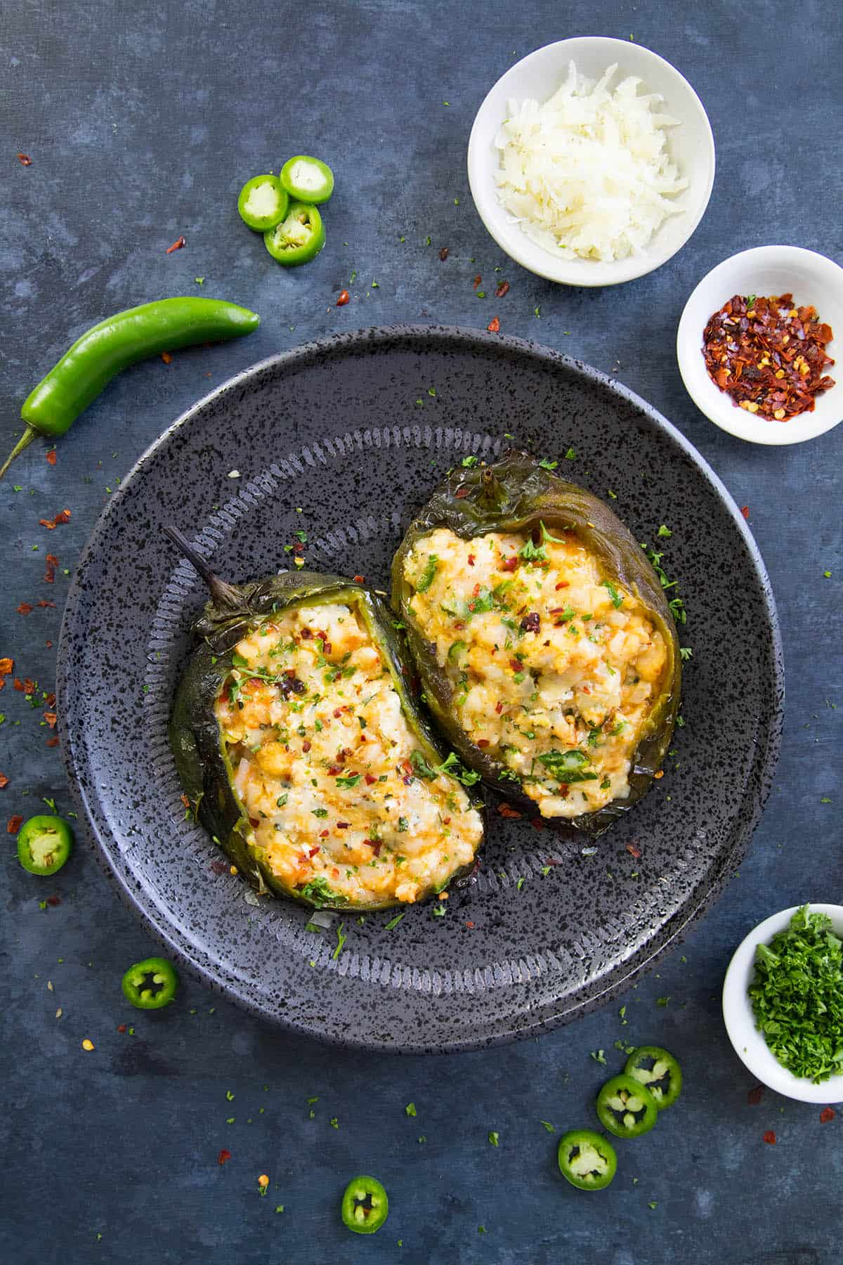 These Cajun Shrimp Stuffed Poblano Peppers are plated and ready to enjoy.