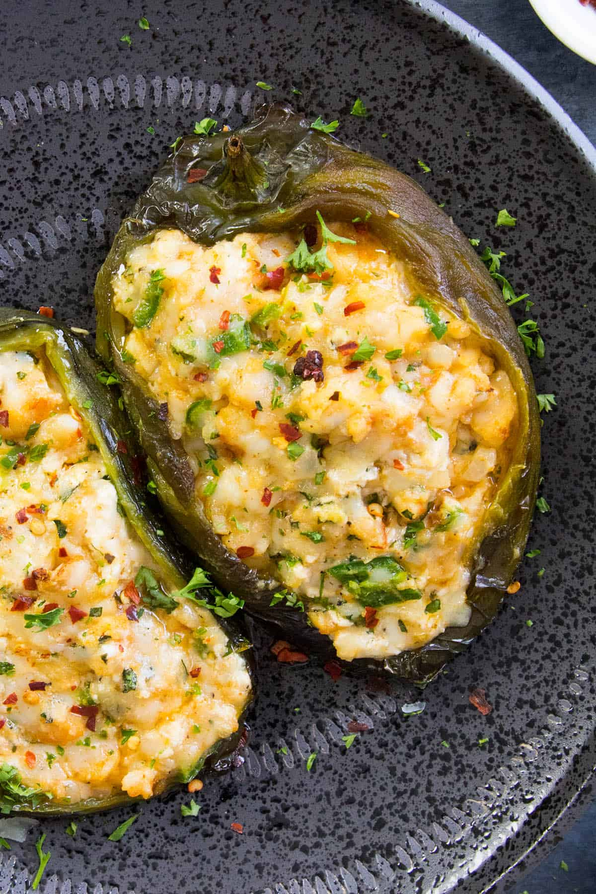 These Stuffed Poblano Peppers are Nice and Cheese and Ready to Eat