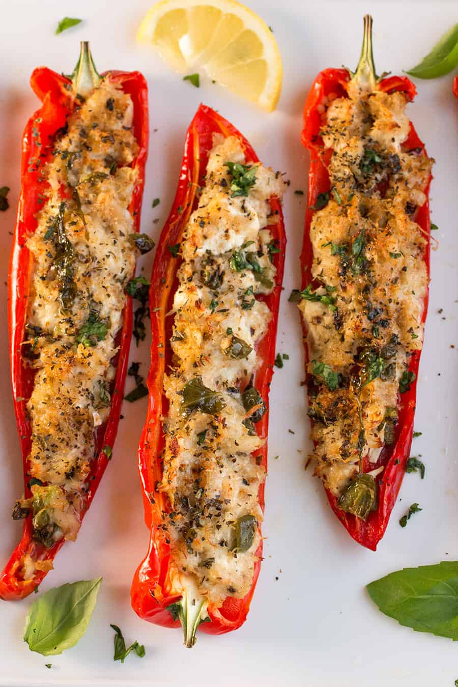 Crab Stuffed Peppers with Lemon-Basil Butter