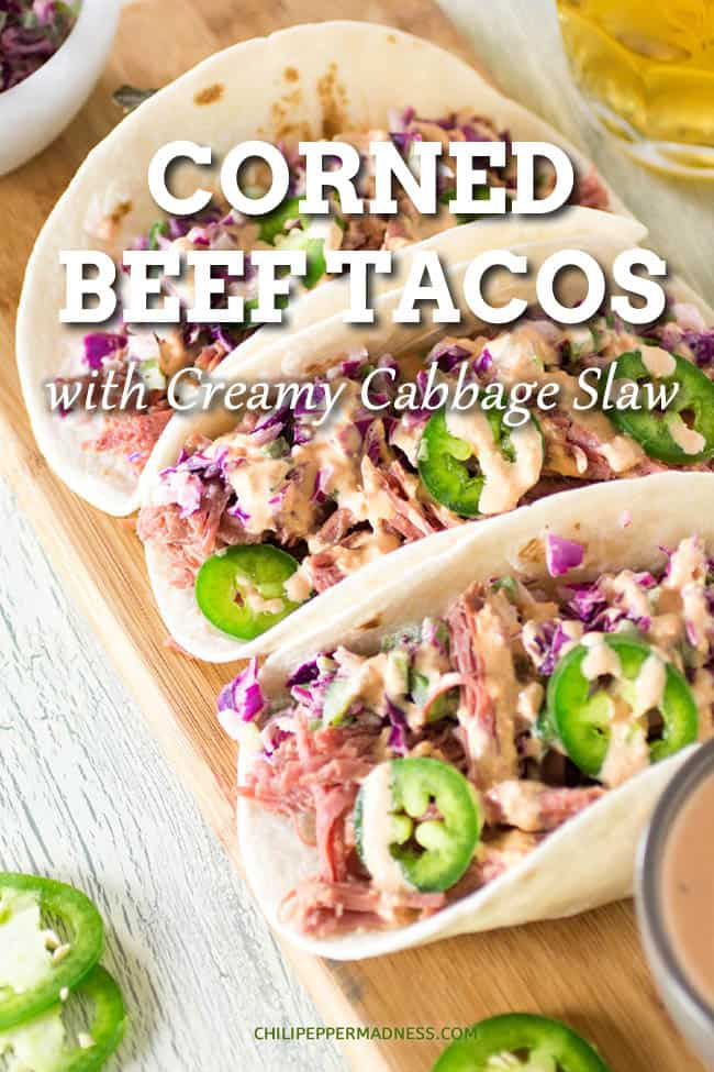 Corned Beef Tacos with Creamy Cabbage Slaw