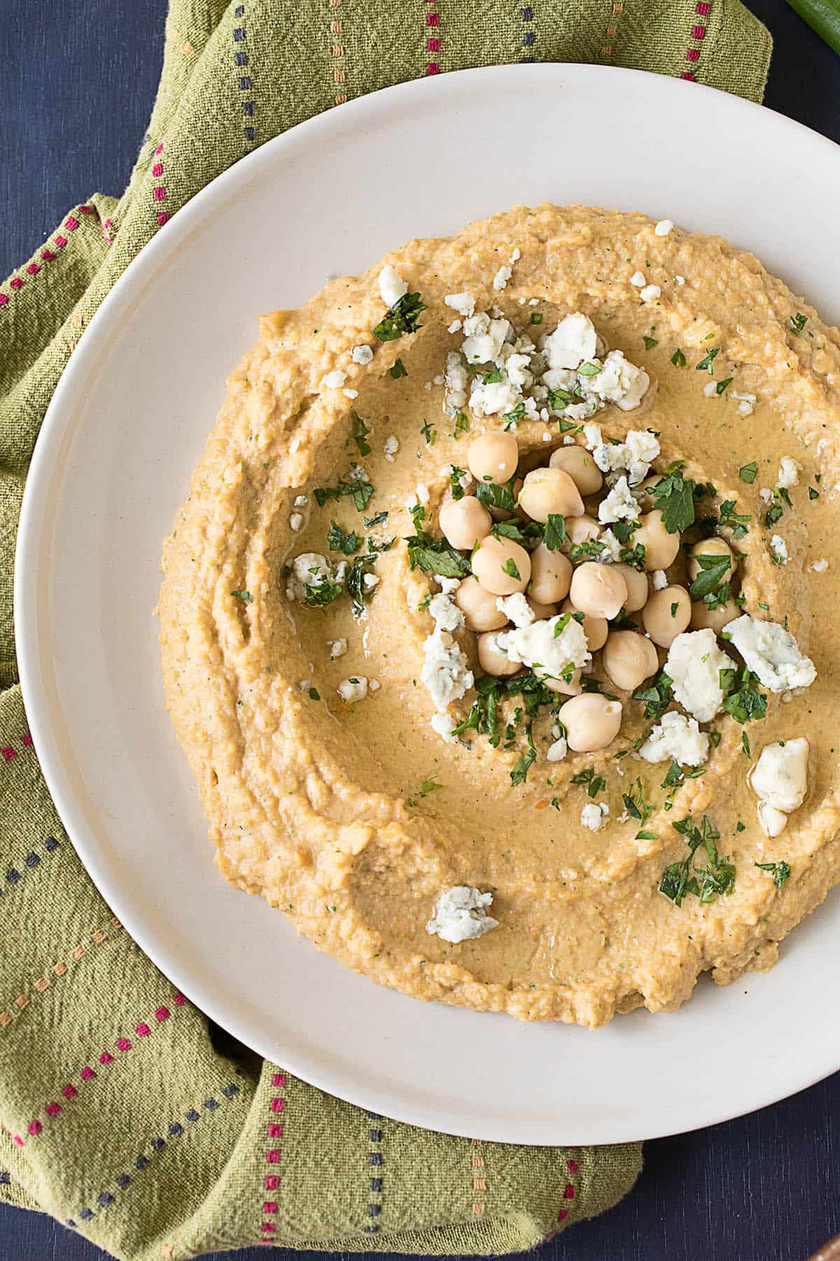 Fiery Buffalo-Blue Cheese Hummus