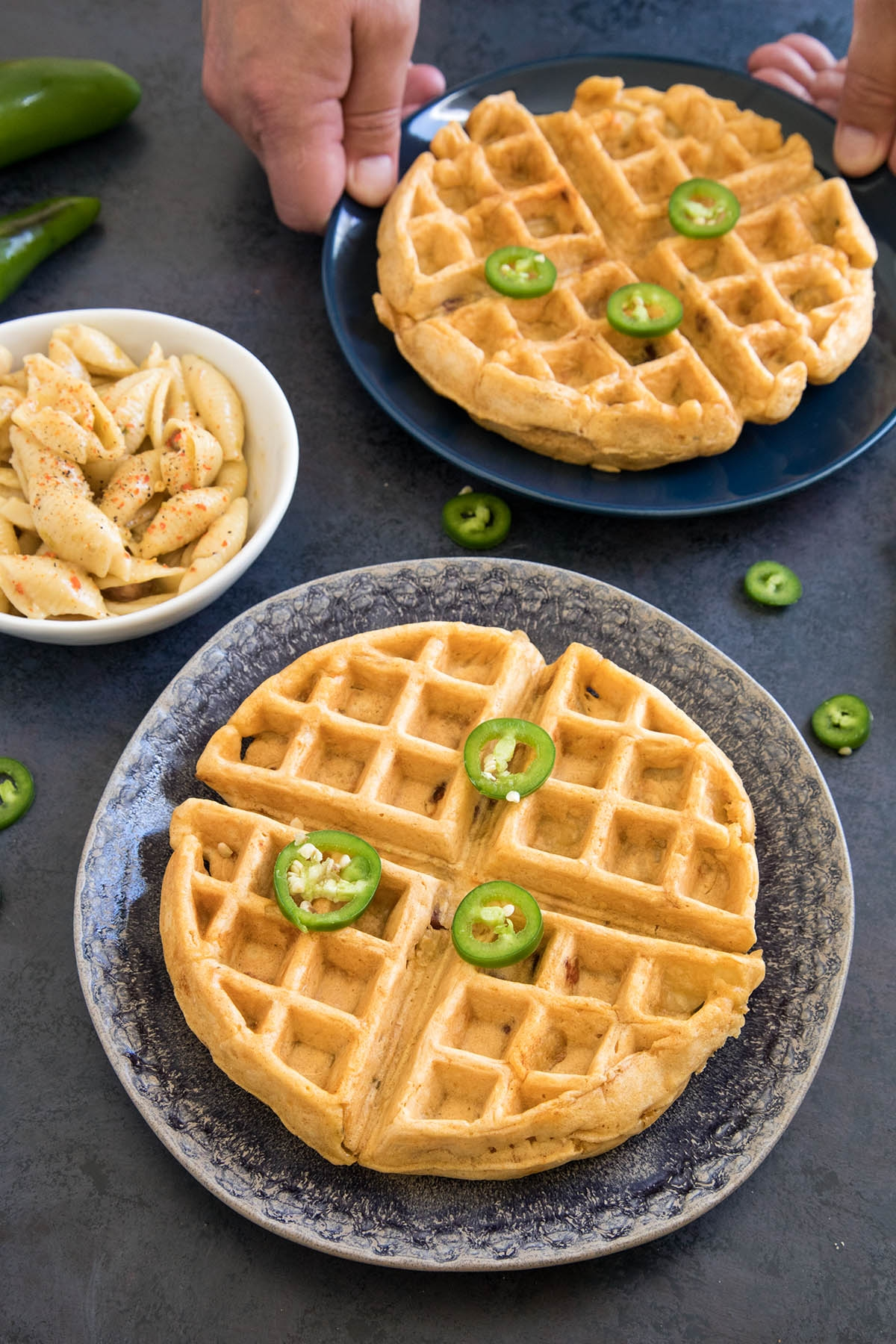 Spicy Mac and Cheese Waffles
